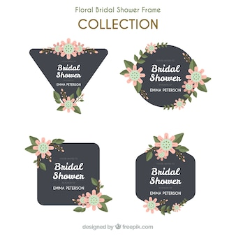 Flat wedding frames with blue and pink flowers
