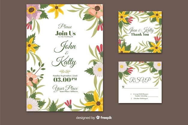 Flat wedding invitation stationery template