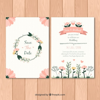 Flat wedding invitation template wit floral style