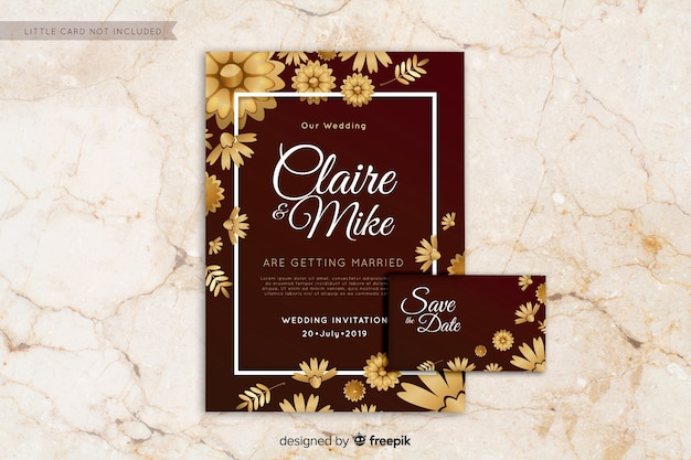 Flat wedding invitation template