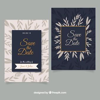Flat wedding invitation with elegant style