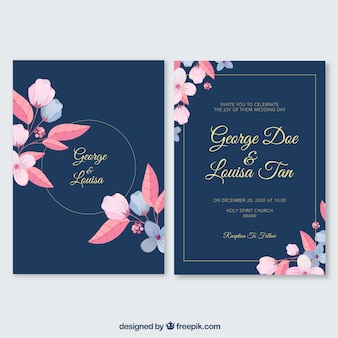 Flat wedding invitation with a floral frame