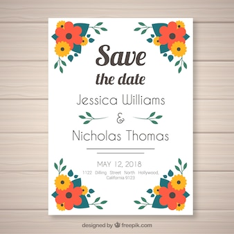 Flat wedding invitation with floral style
