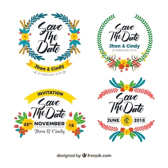 Flat wedding labels with colorful style