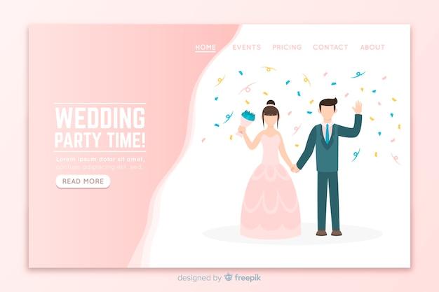 Flat wedding landing page template