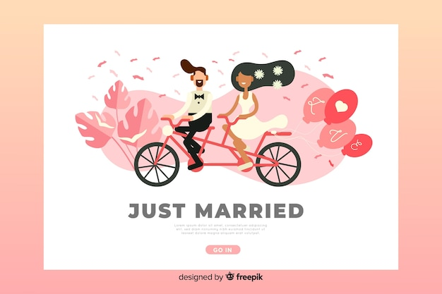 Flat wedding landing page template