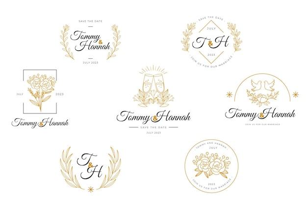 Flat wedding logo collection
