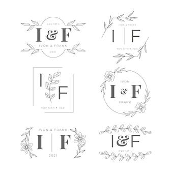 Flat wedding logo set