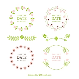Flat wedding ornament collection with floral style