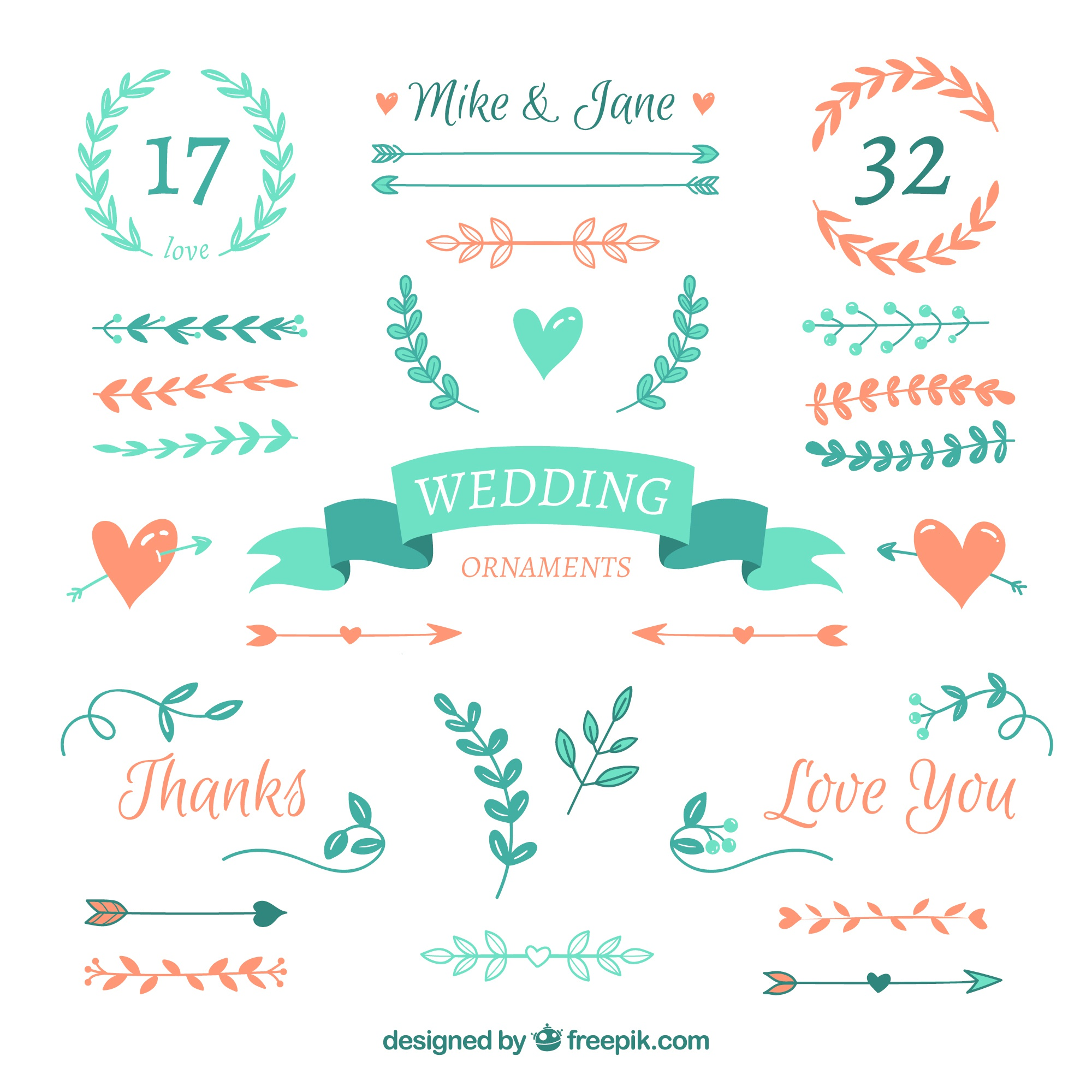 Flat wedding ornament collection
