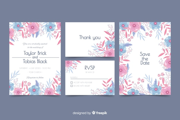 플랫 웨딩 편지지 서식 파일 컬렉션