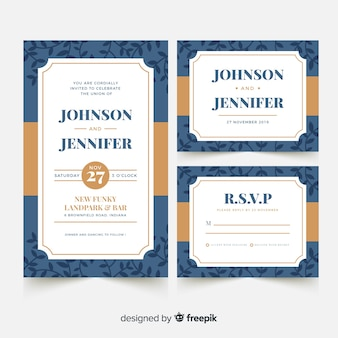 Flat wedding stationery template collection