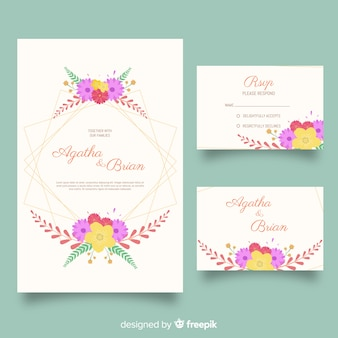 Flat wedding stationery template set