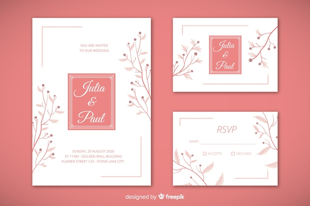Flat wedding stationery template set