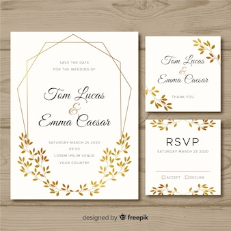Flat wedding stationery template on white background
