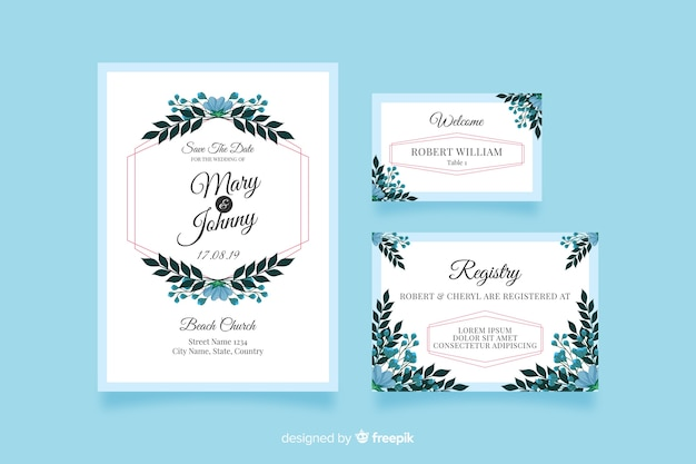 Flat wedding stationery template