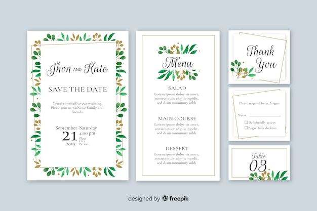 Flat wedding stationery template