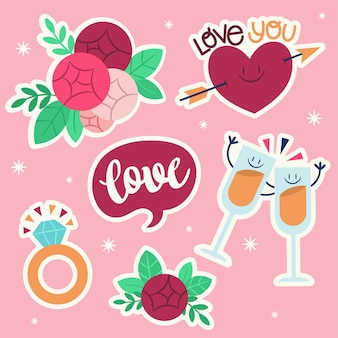 Flat wedding sticker collection