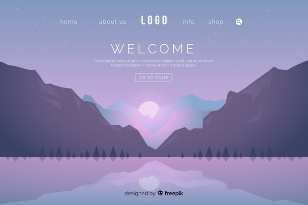 Flat welcome landing page template