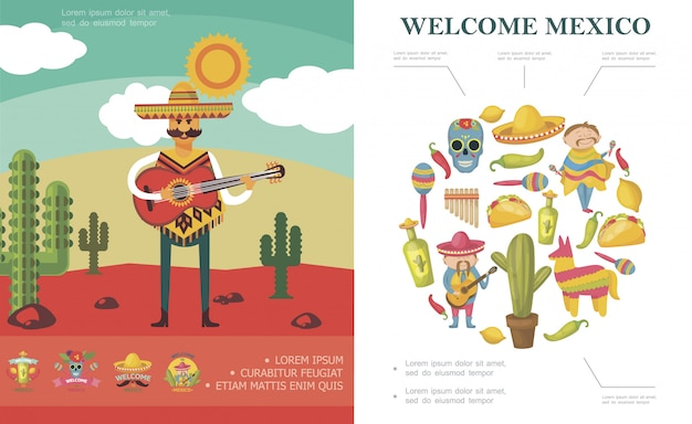 Flat welcome to mexico composition with man playing guitar in desert sugar skull cactus pinata maracas chili pepper tequila bottle taco