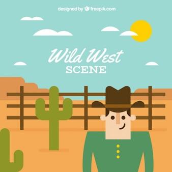 Плоский западный фон с ковбоем