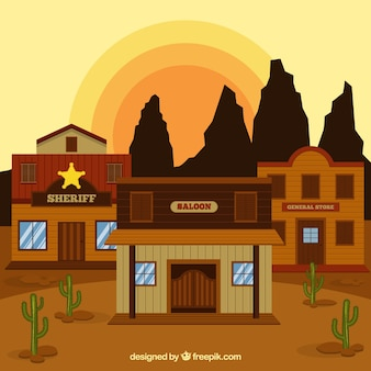 Flat western background with saloon and rocky mountains