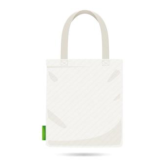 フラットホワイトファブリックバッグ