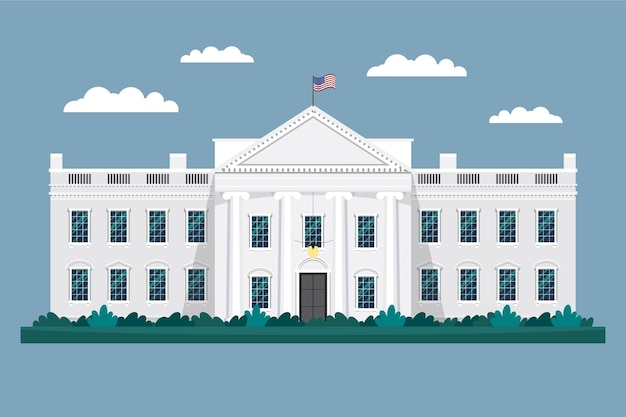 Flat white house illustration