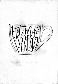 Плоские белые буквы горячего молока, эспрессо в винтажном графическом стиле, опираясь на грязный бумажный фон