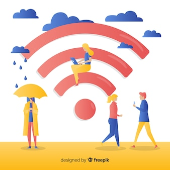 Flat wifi zone concept with signal