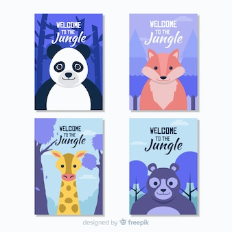 Flat wild animal card collection