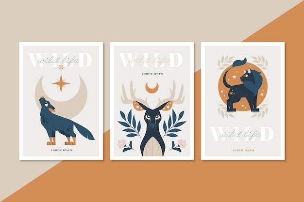 Collezione di copertine di animali selvatici piatti