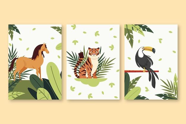 Collezione di copertine piatte animali selvatici Vettore gratuito