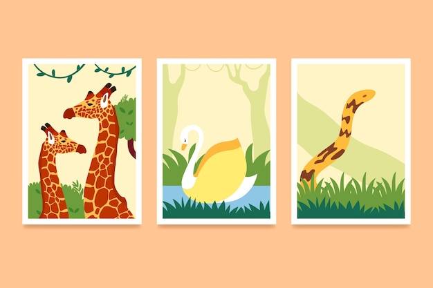 Collezione di copertine piatte animali selvatici
