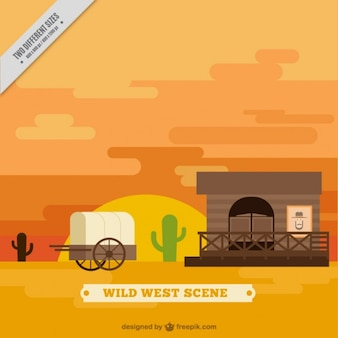Flat wild west background with carriage and saloon