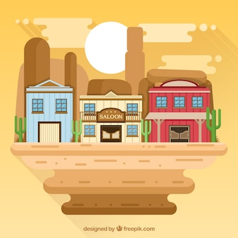 Flat wild west background with colorful buildings