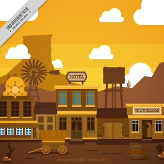 Flat wild west scene in brown tones