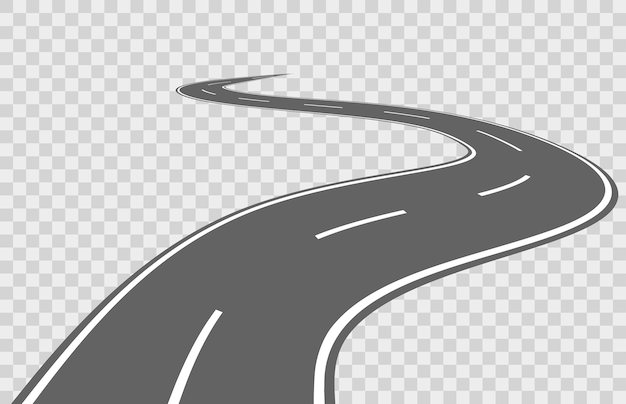 Flat winding road