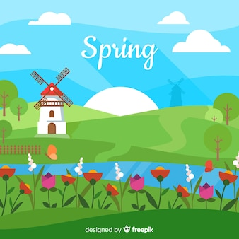 Flat windmill spring background