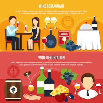 Banner di vino piatto
