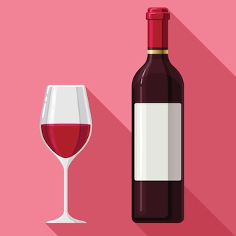 Flat wine claret glass bottle Premium Vector