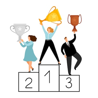 Flat winners characters. vector business people on pedestal.