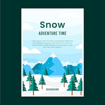 Flat winter adventure flyer
