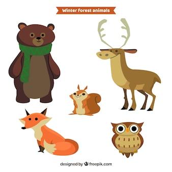 Flat winter animal set