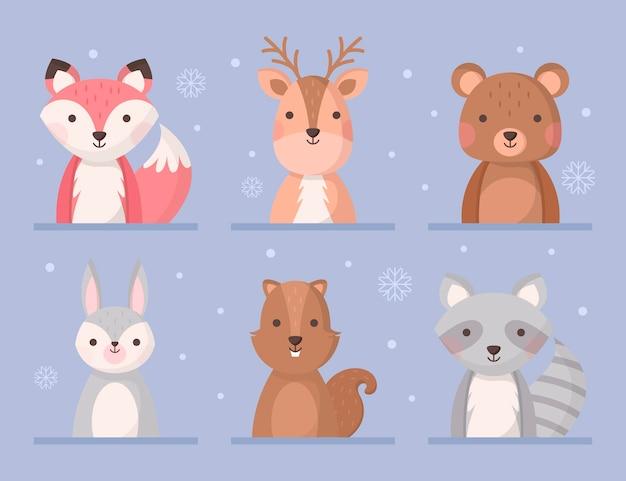 플랫 겨울 동물 컬렉션