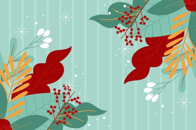 Плоский зимний фон с разными растениями и листьями
