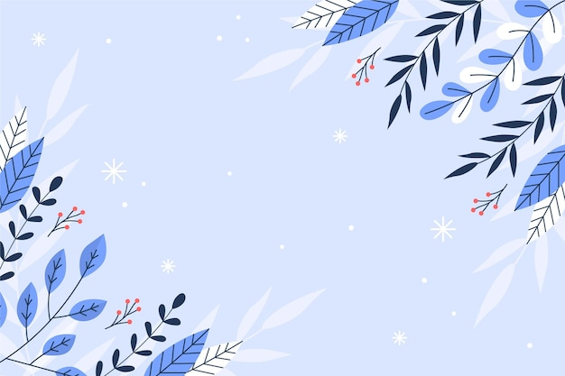 Flat winter background with plants