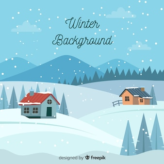 Flat winter background