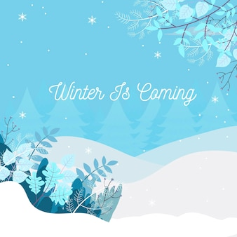 Flat winter background Premium Vector