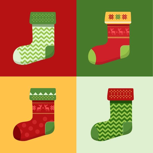 플랫 겨울 크리스마스 양말 세트